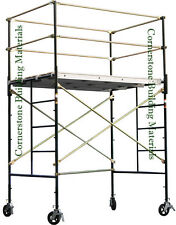 """HEAVY DUTY SCAFFOLD ROLLING TOWER 5' X 7' X 7'4"""" STANDNG DECK HIGH WITH RAILING"""