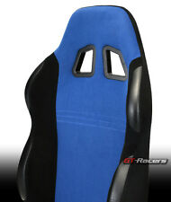2x UNIVERSAL BR BLUE/BLK SUEDE LEATHER RECLINABLE RACING BUCKET SEATS+SLIDER G20