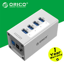 ORICO Silver Aluminum 30W 4 Port USB 3.0 HUB 5Gpbs 12V Power Supply For Laptop