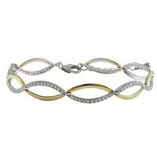 Sterling Silver Gold Finish Cubic Zirconia Double Wave Infinity Bracelet