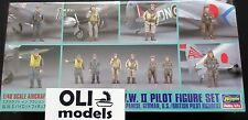 1/48 WWII Pilot Figures Set Japanese/German/US/British - Hasegawa X48-7/36007