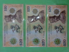 Brunei $20 Polymer 40th Commemorative 1967-2007 (UNC), 2pcs R/N A/1 708425 - 6