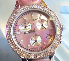 CENERE 5 ATM WATER RESISTANT MOP FACE PINK BAND WATCH SWISS MOVEMENTSo pretty