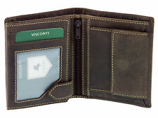 Visconti Mens Hunter Leather Wallet For Credit Cards & Banknotes - Oil Brown