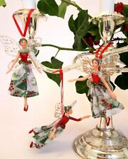 GISELA GRAHAM Christmas fairy set of 3 tree ornaments sparkling decorations