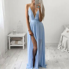 Women's Black / Red / Blue Backless Deep V Long Chiffon Summer Party Dress ❤Aus❤