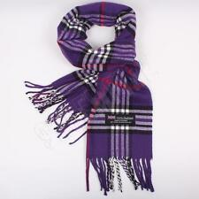 Men Women unisex 100%CASHMERE Purple Scarf tartan stripe Plaid SCOTLAND
