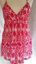 Ladies Pink Bleach Pattern Strappy Mini Dress Size 12 by Expression NWT