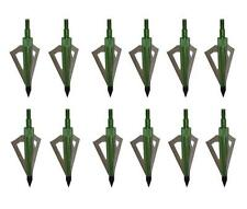 12Pack Hunting Broadheads 125 Grain Green Arrow Heads Point Tips For Crossbow