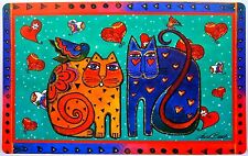 NEW LAUREL BURCH '2 Cats with Hearts & Birds' FEEDING MAT RETIRED HTF Placemat