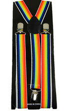 "Unisex Clip-on Braces Elastic ""Rainbow"" Y-back Suspender #2"