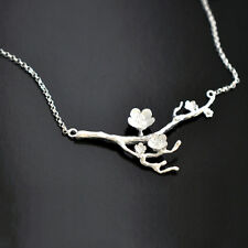 925 Silver Cherry blossom Necklace Fashion Jewelry Branch Flowers Necklaces