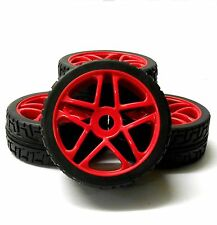 180019R 1/8 Scale On Road Buggy RC Wheels Street Tread Tyres Red Star x 4