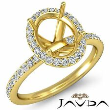 Halo Pave Oval 1Ct Diamond Classic Engagement Ring 14k Yellow Gold Semi Mount
