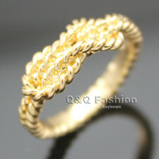 Chic Gold Braided Twisted Double Infinity Knot Rope Finger Ring Friendship SZ 7