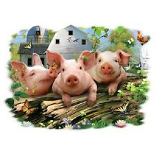 """THREE LITTLE PIGS"" with Flowers on One 16 Inch Square Fabric Panel-Quilt orSew"