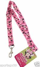 NEW MINNIE MOUSE BOWTIQUE DISNEY LANYARD CLIP KEY CHAIN Necklace ID Holder NWT