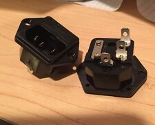 2 PC 250V 10A 3pin IEC Power Cord Inlet Socket Receptacle Fuse Holder US Seller!