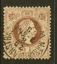 AUSTRIA : 1880 50 kr brown perf  12  SG 66 used
