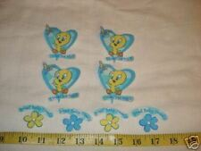 8 pc Tweety Bird Fabric Applique Iron On Ons