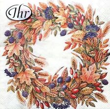 iHR Set of 20 Cocktail Beverage Paper Decoupage Napkins - Harvest Crown Cream