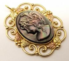 Vtg 10K Black Hills Gold Carved Mother of Pearl Cameo Pendant Relief Rose Yellow
