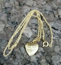 """18"""" Goldtone Chain Necklace Floral Etched Heart Locket  Valentines Gift"""