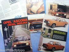 QUATTROR978-PROVA SU STRADA/ROAD TEST-1978- OPEL ASCONA DIESEL BERLINA - 6 fogli