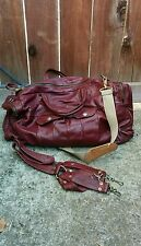 Vintage Quilted Leather Duffel Bag Travel Backpack Burgundy Wine Luggage CarryOn