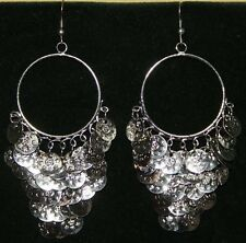 Silver Toned Tribal Cabaret Gypsy Chandelier Belly Dance Dancing Coin Earrings