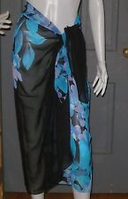 NWT $62 womens MIRACLESUIT pareo wrap BEACH cover up skirt dress NEW blue floral