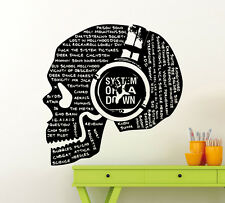 System Of Down Songs Titles Skull SOAD Wall Decal Music Vinyl Sticker Mural 35mu