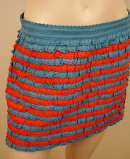 MARC JACOBS Red Blue Cotton Silk Ruffle Layered Crochet Detail Mini Skirt 6 /10
