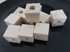 10 x 20mm WOODEN CUBE Square Beads - Unpainted Natural Unfinished LARGE HOLE 9mm