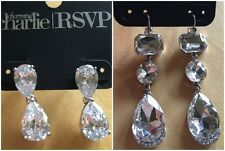Charming Charlie RSVP CZ Clear Crystal Silver Special Occasion Earring Lot Of 2