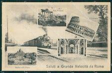Roma Città Saluti a Grande Velocità Treno cartolina QT2216
