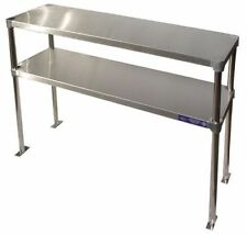 "Stainless Steel 12"" x 36"" Table Mounted Adjustable Double Overshelf"