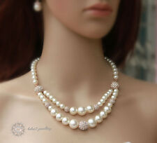 Pearl Double Necklace/Swarovski Crystal/Wedding/Bridal/RGN301G