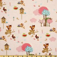 1YD FOREST FRIENDS Village Chipmunks Camelot Cottons Baby Nursery Pink Fabric