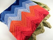 Vintage Crochet Rainbow Afghan Bright Multi Color Chevron Zig Zag Blanket Throw