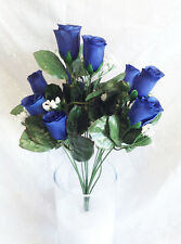 14 Long Stem Roses ~ HORIZON ROYAL BLUE ~ Silk Wedding Flowers Bouquets Decor