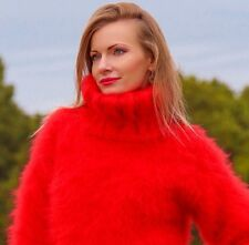 SUPERTANYA BRIGHT RED Hand Knitted Mohair Sweater FUZZY Handmade Pullover SALE