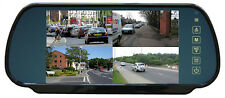 "Clip on Rear View Mirror with 7"" QUAD Screen for motorhome rear view cameras"
