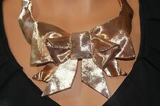 NWT SPECTACULAR Kate Spade 'All Wrapped Up' Statement Necklace Rose Gold Bow