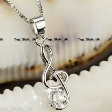 925 Sterling Silver Treble Clef Music Note With CZ Pendant Chain Necklace Gift
