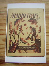 Postcard Vtg Radio Times cover October 1937 Autumn number Sweeping up oak leaves