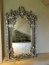 HAND CARVED MAHOGANY SILVER LEAF ROCOCO ORNATE LARGE FRENCH  WALL  MIRROR