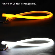 1 Pair 60cm White and Yellow Soft Tube Strip Lamp Car LED DRL Turn Signal Light