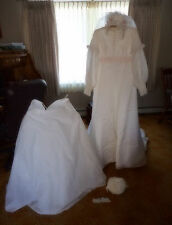 VTG HOMEMADE  WEDDING DRESS SLIP VEIL MONEY PURSE DETACH TRAIN GARTER BELT NICE
