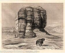 Antique print Babylon Iraq Akerkolf tower ruins / holzstich Irak 1869